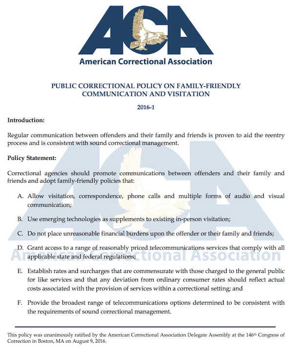 ACA policy on family-friendly communication and visitation