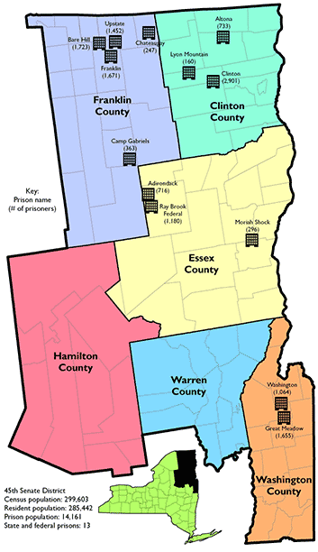 map showing Senate 45 district