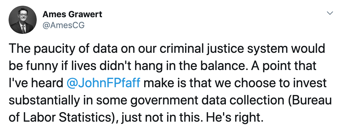 tweet from a Brennan Center for Justice staffer about data gaps in the criminal justice field.