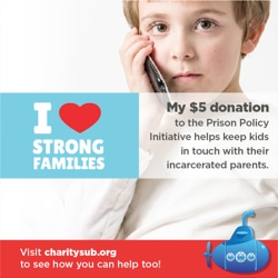 banner from CharitySub showing what a $5 gift to the Prison Policy Initiative will do