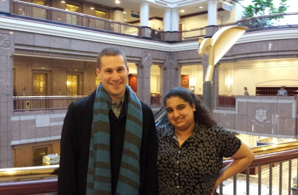 Arielle Sharma and Corey Frost at the Connecticut State House