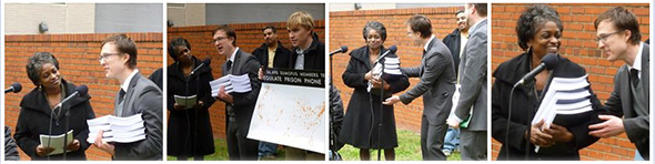 images of Drew Kukorowski of the Prison Policy Initiative and Rob Wohl of SumOfUs presenting 36,690 petitions to FCC Commissioner Mignon Clyburn