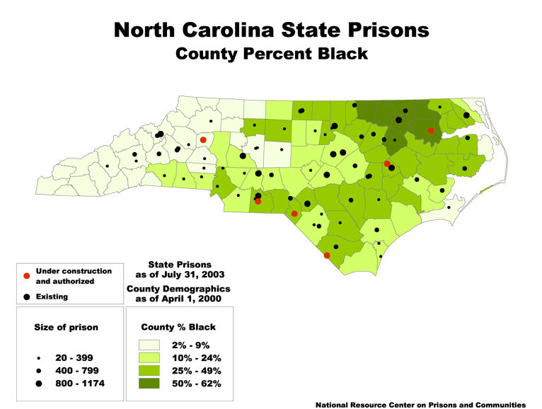 Nc State Map County.North Carolina State Prisons And County Percent Black Prison