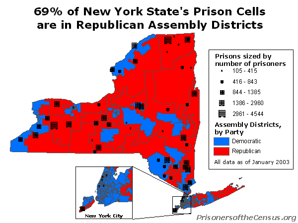 map showing that 69% of NY's prison cells are in Republican Assembly districts
