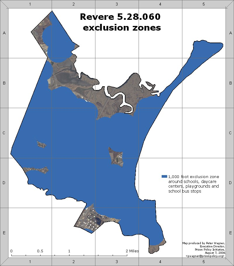 A map of Revere, MA, with exclusion zones colored in blue. Most of the city is in an exclusion zone.
