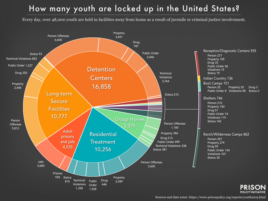 Pie chart showing how many youth are locked up in the U.S., what types of facilities they are held in, and the offenses for which they are held.